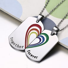 彩虹對鍊項鍊  鈦鋼 316鋼  項鍊 沂軒精品 F0120