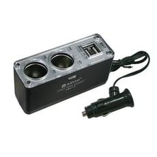 KINYO 2孔車用點煙器+2孔USB充電擴充座CRU-15