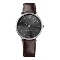 TOMMY HILFIGER 男簡約風格黑底銀框圓形皮革手錶