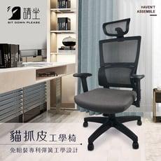 《請坐》貓抓皮座墊 工學網背 電腦椅 ★免組裝★
