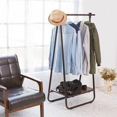 【ikloo】日系A字型掛衣架/吊衣架-黑色款/衣架/日系衣架/掛衣桿/木衣架/單桿收納衣架