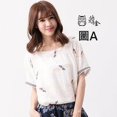 韓系印花短袖棉麻上衣