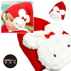 【摩達客】超Q兒童嬰幼兒保暖護耳毛線針織帽(紅色)