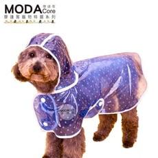 【摩達客寵物系列】寵物貓狗雨衣-透明白圓點