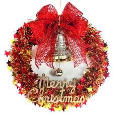 摩達客耶誕-紅金系金蔥聖誕星星花圈(14吋)(本島免運費)