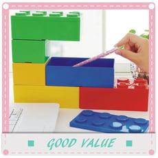 可疊式積木造型收納盒  辦公文具收納盒【長方形】
