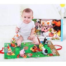 【 立體布書禮盒】 正品Jollybaby布書 新生兒禮盒 觸摸立體動物尾巴早教益智玩具 撕不爛的書