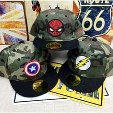 【迷彩英雄鴨舌帽】兒童棒球帽 鴨舌帽 迷彩英雄卡通 蜘蛛俠遮陽嘻哈帽子蝙蝠俠帽子