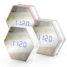 USB充電式 六角形可調光鏡子鬧鐘(LI-05A)
