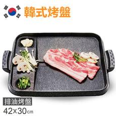 【韓國LOVE SONG】最新款韓式烤盤可烤蒜頭/泡菜/不沾鍋/烤肉烤盤(長方形42x30cm)SM
