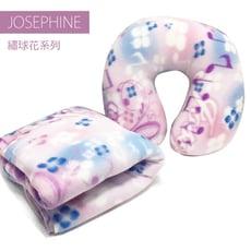 【JOSEPHINE約瑟芬】MIT台灣製 繡球花毛毯+U型頸枕 辦公室靠枕 午睡枕 枕頭 護頸枕