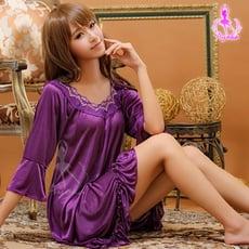 睡衣 性感睡衣 星光密碼【K002】浪漫風情深紫七分袖柔緞情趣性感睡衣
