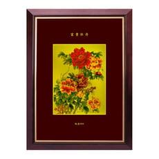 黃金畫 富貴牡丹圖 純金畫 可吊掛 收藏 送禮 居家佈置 店面裝飾 禮贈品 開運