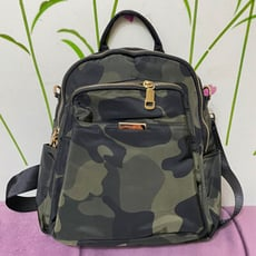 迷彩防水尼龍三隔層鐵片拉鍊後背包 手提包 側背包 三用包 大容量後背包