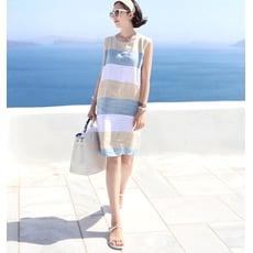 撞色海灘系休閒洋裝