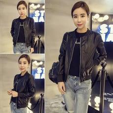 韓版輕薄女皮外套