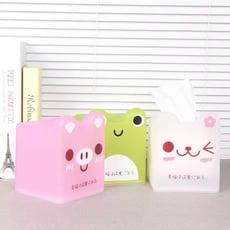 半透明可愛卡通紙巾盒 正方形紙巾盒  青蛙造型紙巾盒 粉紅豬 小貓咪面紙盒