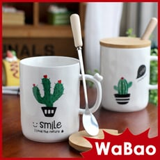 仙人掌帶蓋帶勺陶瓷杯 馬克杯(四種樣式任選)(B06059)