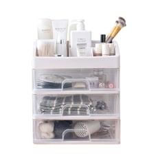 透明抽屜式桌面化妝品收納盒(大號3層)