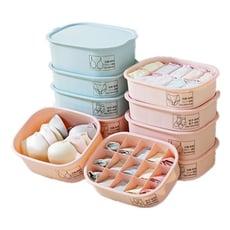 家用塑膠收納盒 內褲盒 內衣盒 襪子盒 置物盒(內衣圖案-無格款含蓋子)