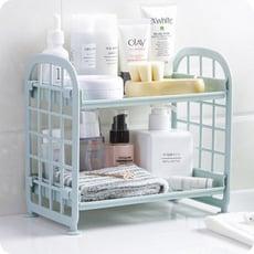 雙層塑膠桌面收納架 廚房小型置物架 浴室整理架