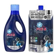 日本進口 【P&G】 ARIEL 史上最強運動抗菌消臭洗衣精熱銷組 (瓶裝750g+補充包720g)