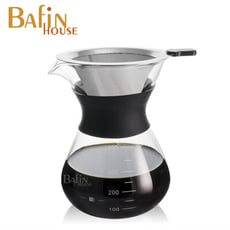 【Bafin House】不鏽鋼雙層濾網手沖咖啡壺400ml