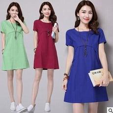 素色棉麻連衣裙 3色 M-2XL碼 【B215026】