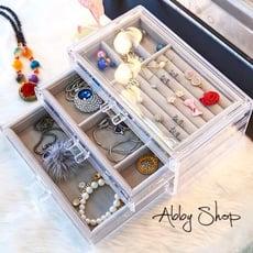 Abby生活百貨》三層絨布飾品收納盒 (2色)