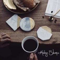 Abby生活百貨》北歐風 大理石紋陶瓷杯墊 鍍金邊杯墊 大理石紋杯墊 咖啡杯墊 陶瓷杯墊 隔熱墊