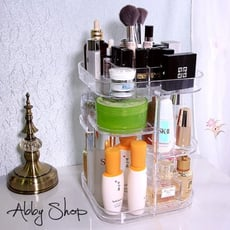 Abby生活百貨》厚方形360度 旋轉化妝品收納盒 化妝櫃 壓克力收納盒 收納架 收納櫃 居家收納