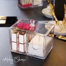 Abby生活百貨》鑽紋化妝棉收納盒 棉花棒收納盒 化妝品收納盒 化妝櫃 壓克力收納盒 收納架