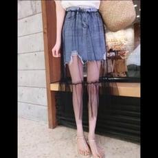 春夏女裝韓版中長款時尚百搭網紗拼接破洞高腰毛邊牛仔半身裙長裙