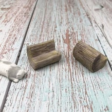 beagle 圓木板凳 仿木頭 小椅子 椅子 微景觀擺件/diy/裝飾 裝飾素材擺件 樹脂工藝擺件