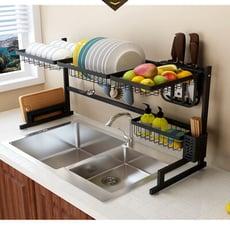 第二代-304不銹鋼廚房水槽碗碟收納架 (雙槽)79CM 黑色