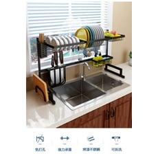 第二代-304不銹鋼廚房水槽碗碟收納架 (雙槽)85.5CM 黑色