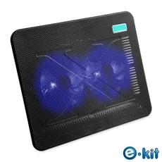 逸奇e-Kit 11cm雙風扇超薄筆電散熱墊-黑色款 CKT-N192_BK