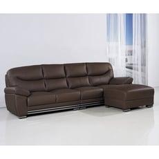 獨立筒半牛皮L型沙發