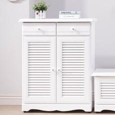 【obis】愛莉森鄉村白色2.7尺真百葉鞋櫃