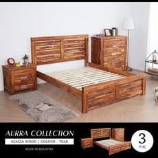 【obis】奧拉鄉村系列實木雙人房間3件組(床架+床頭櫃+斗櫃)