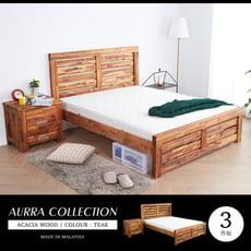 【obis】奧拉鄉村系列實木雙人房間3件組(床架+床頭櫃+床墊)