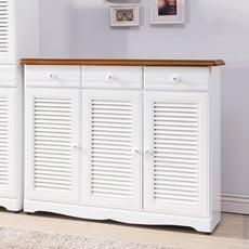 【obis】愛莉森鄉村雙色4尺真百葉鞋櫃