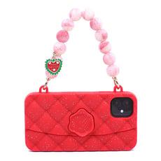 【Candies】幻彩水晶手提晚宴包(紅) - iPhone 11 (附聖誕手鏈)