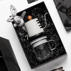 【PO:Selected】丹麥手沖咖啡禮盒組(手沖咖啡壺-共2色/咖啡玻璃杯350ml-共4色)