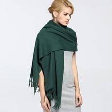 馬卡龍素色披肩圍巾