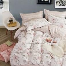 台灣製 頂級精梳棉200織紗雙人床包被套四件組 低奢的溫度-粉