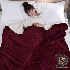 5D立體麥穗法蘭絨羊羔絨暖毯被 (加厚款/麥穗-紅)