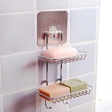 強力無痕帶掛勾雙層香皂架 肥皂架 PNT49741