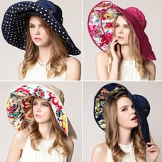 大帽沿可拆可折疊遮陽帽