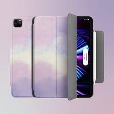 【ZOYU原創】iPad 磁吸夾 聰穎雙面夾 磁吸搭扣筆槽 文藝風葡萄紫(三折式/硬殼/可吸附筆)